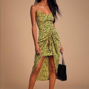 NWT Lulus Odette Yellow Leopard Print Satin Dress